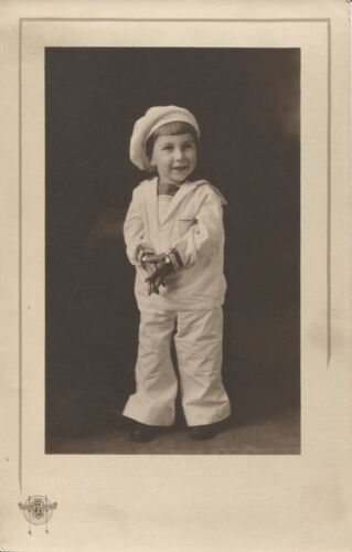 Cabinet Photo Young Child in Sailor's Uniform by Kings Studio Cute ca. 1920