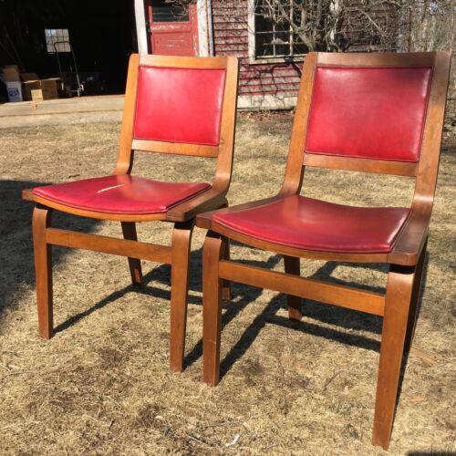 Set of 2 Red Mid Century Danish Modern Thonet Bent Plywood Chairs