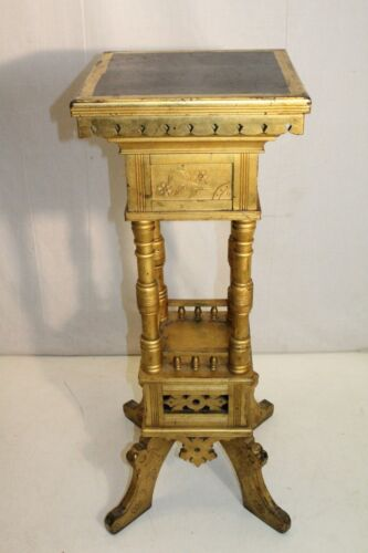 antique 19th c  Arts & Crafts Pedestal Plant Stand  Gold Leaf,