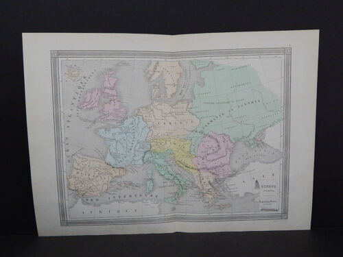 Antique Maps, French Atlas, c. 1870, Hand Color, Europe, Ancient S9
