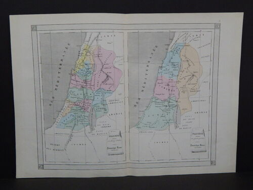 Antique Maps, French Atlas c 1870 Hand Color Palestine S7