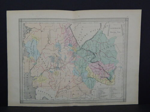 Antique Maps, French Atlas, c. 1870, Hand Color, Germany S22