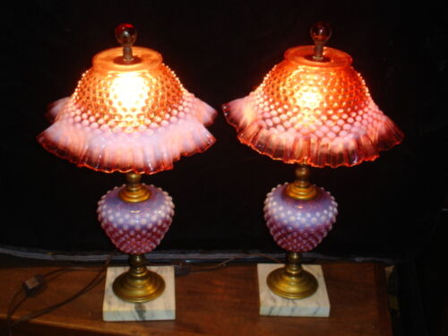 FENTON CRANBERRY HOBNAIL OPALESCENT LAMP GRANDMOTHER STYLE.
