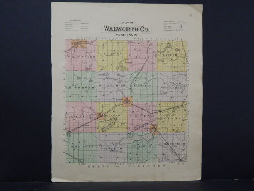 Wisconsin, Walworth County Map 1891 L21#49