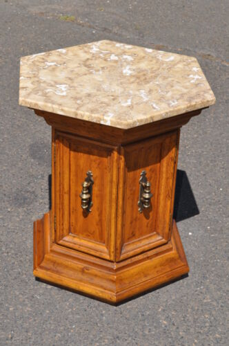 Drexel Velero Collection Marble Top Tuscan Style Side Table With Storage