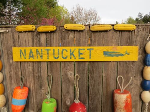 48 INCH WOOD HAND PAINTED NANTUCKET WHALE SIGN NAUTICAL SEAFOOD (#S625)