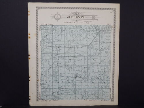 Wisconsin Green County Map 1918 Jefferson & Sylvester Townships Double Sided #4
