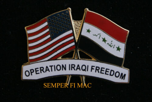 OPERATION IRAQI FREEDOM HAT LAPEL PIN UP OIF WAR USA IRAQ FLAG US VETERAN GIFT Other Militaria (Date Unknown) - 66534