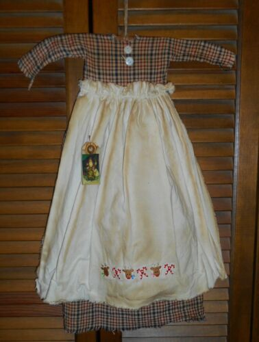 Primitive RED BLUE PLAID DRESS wAPRON Reindeer & Canes,Grungy,Christmas,Cupboard