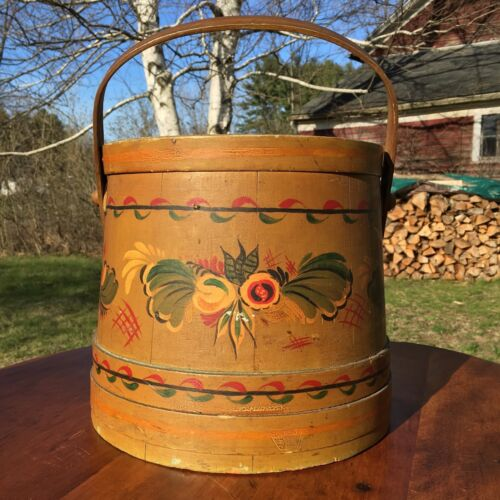 Antique Shaker Style Finger Banded Folk Art Painted Firkin Pantry Bucket, Signed