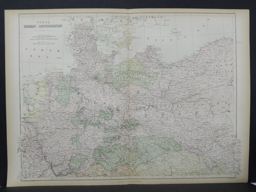 Antique Map, Black's, 1862 Germany, Two Double Pages M7#53