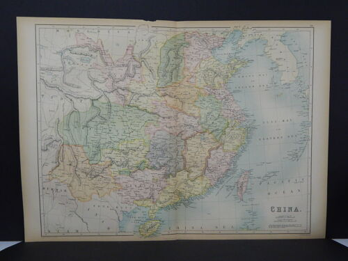 Antique Map, Black's, 1862 Double Page, China M7#60