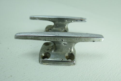 PAIR 3 INCH OLD CHROME SHIP BOAT DOCK CLEATS CHOCKS (#1577)