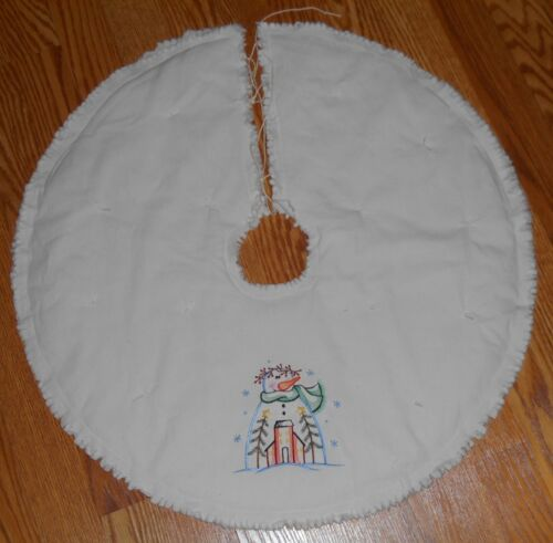 "SNOWMAN & SALTBOX Embroidered Tree Skirt,24"",Christmas,Country, Prim, Winter"