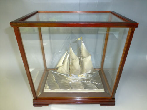 FINEST SIGNED JAPANESE TWO MASTED STERLING SILVER 960 MODEL SHIP BY SEKI JAPAN