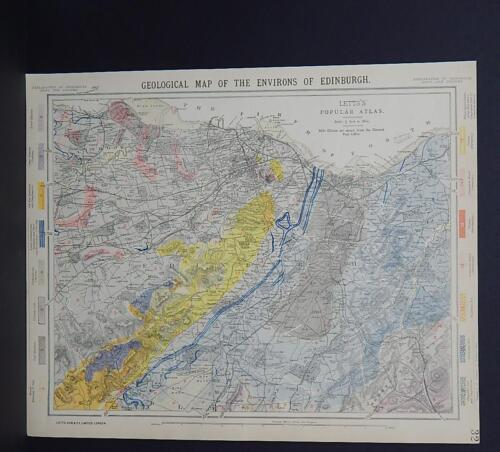 Antique Map Lett's 1883  Geological Map of the Environs of Edinburgh R7#98