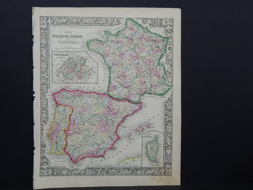 Antique Map, Mitchell, 1865 France, Spain & Portugal M8#13
