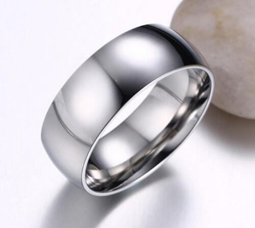 Men's Titanium Stainless Steel Silver Comfort Fit Plain Wedding Ring & Band 8MM