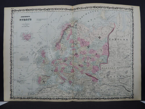 Antique Map, Johnson's, 1862 Double Page, Europe M10#32