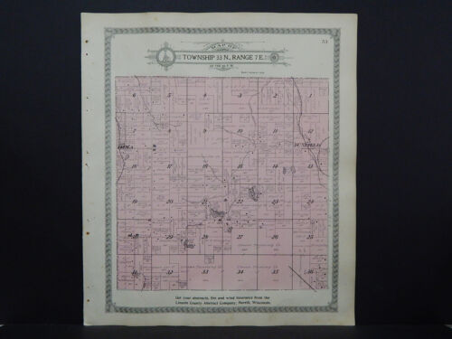 Wisconsin Lincoln County Map 1914 Birch Township Luede's Lake K19#22