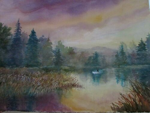 New Millie Gift Smith 30''/22'' Watercolor Landscape Lake