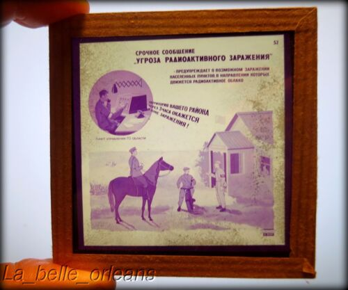 RARE 2 SOVIET UNION COLD WAR GLASS SLIDES.EDUCATIONAL NUCLEAR/RADIOACTIVE THREAT