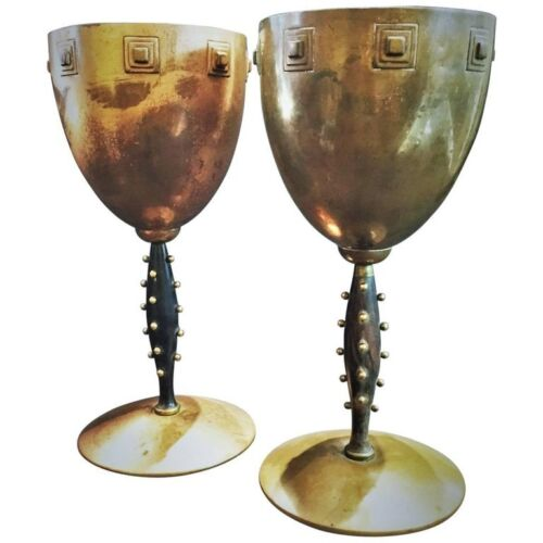 WMF, A Pair of German Jugenstil Copper & Wood Challises, Ca. 1910