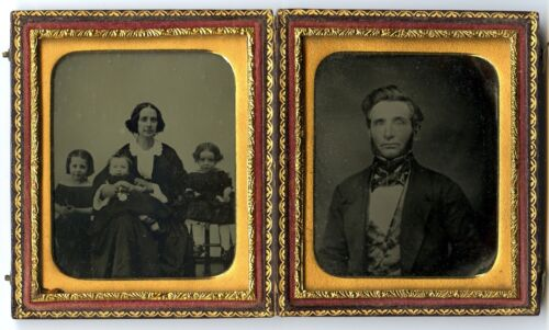 Woman with Children  Little Girls, & Man, Two Ambrotype Photos in one  case