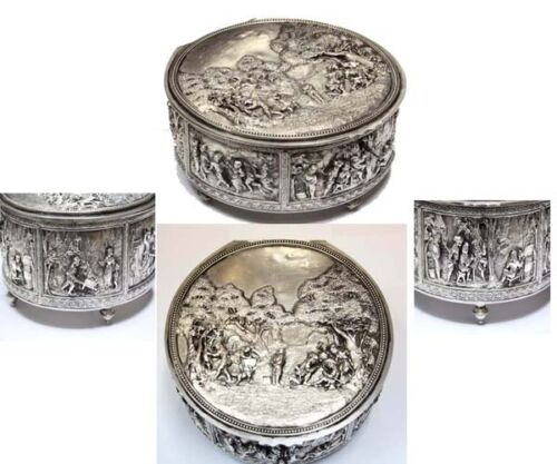 Nice old French silver plated jewel box with scenes characters playing dancing