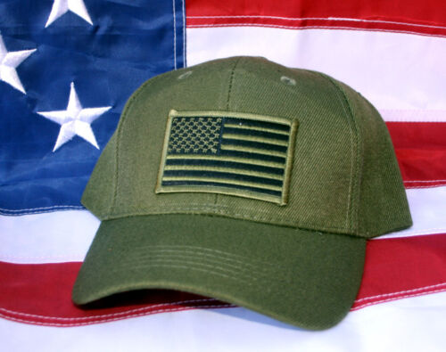 TACTICAL OD GREEN HAT CAP USA US FLAG PIN UP GIFT BORDER PATROL CIA FBI DEA WOWOther Militaria - 135