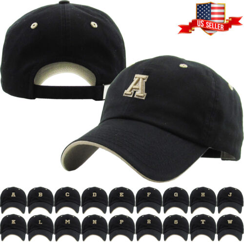 ABC Letter Embroidery INITIAL Black Dad Hat Baseball Cap Adjustable