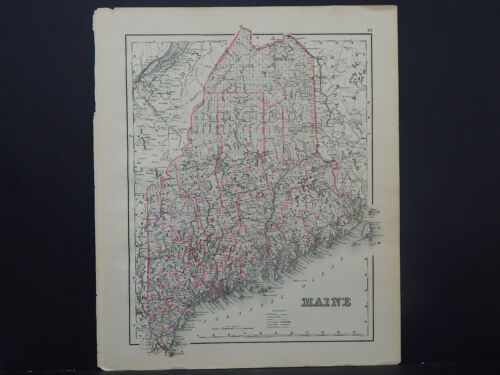 Maine State Map 1886 O.W. Gray R9#19