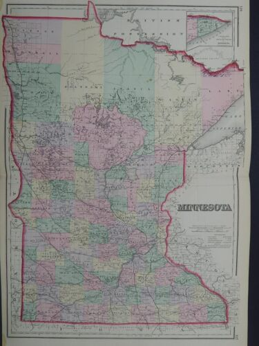 Minnesota State Antique Map, 1881, O.W. Gray R9#22