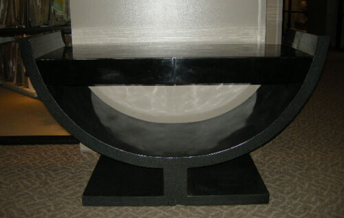 MCM Black Lacquer Console Table Deco Attributed to Springer Hollywood Regency