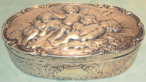 C 1700 RARE GERMAN STERLING  CHERUBS ,BUTTERFLY  BOX WITH LID 10.7 TROY OUNCES