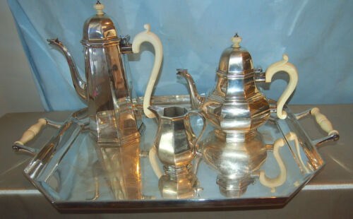 ASPREY & CO LONDON 4 PC TEA SET STERLING C 1979 WITH TRAY RARE -173.6 OUNCES