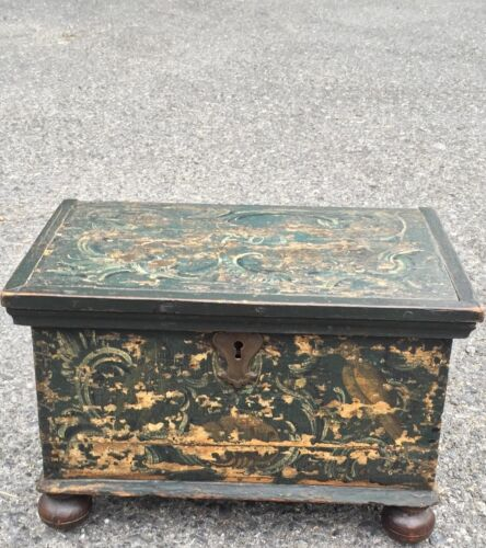 Antique 1763 Painted Document Box. Probably Pennsylvania. Original Paint