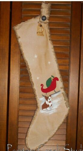GUARDING SANTAS SLEIGH BULLDOG Handpainted Christmas Stocking Primitive,Folk Art