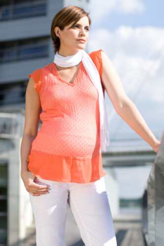 Short sleeve maternity blouse - Noppies maternity coral top - all sizes