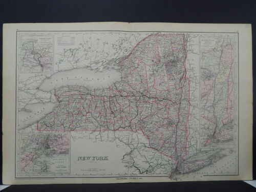 New York, Antique State Map, 1886 N1#48