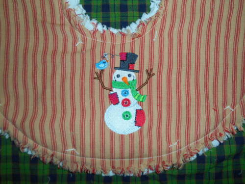 """PATCHWORK SNOWMAN Embroidered Tree Skirt,18"""",Christmas,Country"""