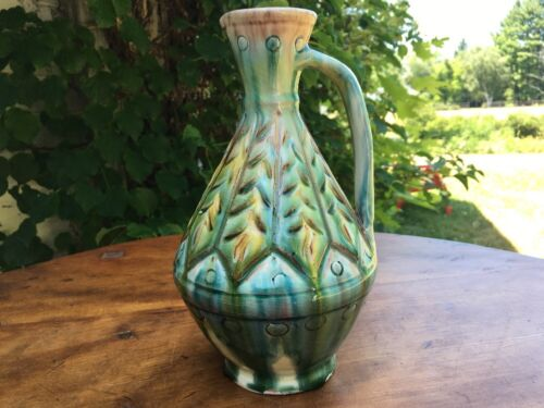 Vintage Antique Green Sgraffito Dripware Handled Pitcher, Russian Pottery (?)