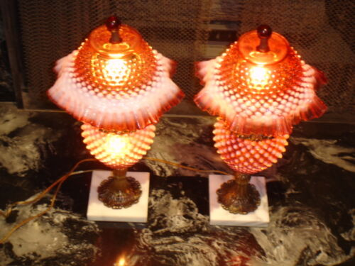 FENTON CRANBERRY HOBNAIL OPALESCENT LAMP GRANDMOTHER STYLE GWTW