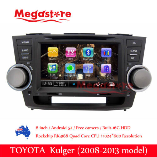 "8"" Android 9.0  Car DVD GPS Head Uint Nav Quad Core For TOYOTA Kluger 2008-2013"