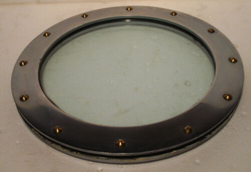 VINTAGE ship's BRASS PORT HOLE / Window / Porthole - 10 INCHES GLASS (3034)