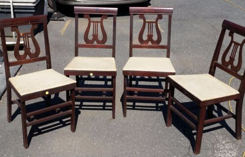 MID CENTURY VINTAGE STAKMORE WOOD FOLDING CHAIRS
