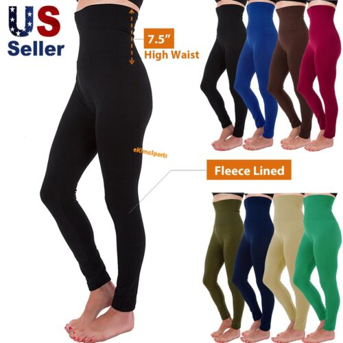 High Waist Tummy Control Thick Fleece Full Length Legging Stretch Slim Fit Pants