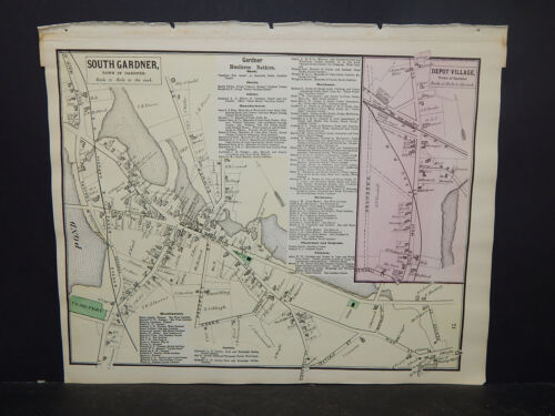 Massachusetts, Worcester County Map 1870 P2#84 South Gardner, Depot Village