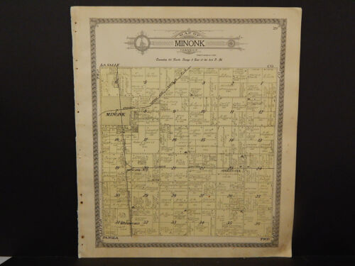 Illinois Woodford County Map, 1912 Township of Minonk Q3#54