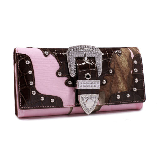 New Realtree Womens Camouflage Trifold Leather Wallet Purse Card Bag Notecase